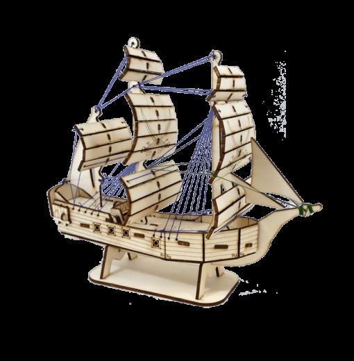 פאזל עץ תלת ממד ספינת פיראט